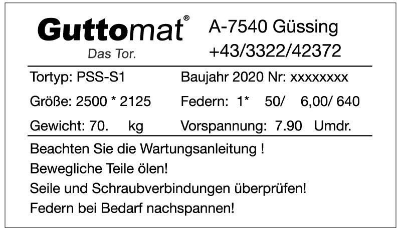 Guttomat – Die Tormanufaktur – Einzigartige Sektionaltore Made in Austria - Typenschild